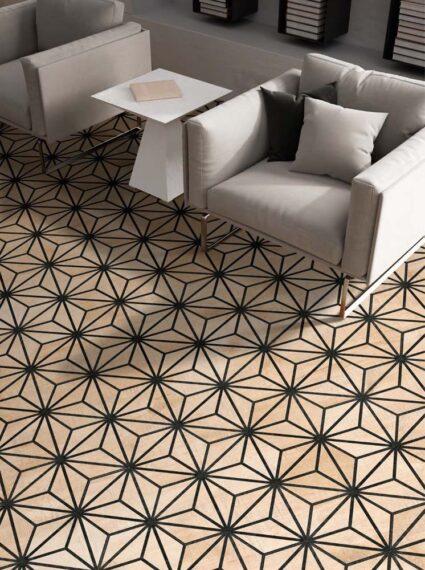 Shapes Aura pattern beige room